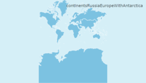Continents map with all of the Russia in Europe with Antarctica