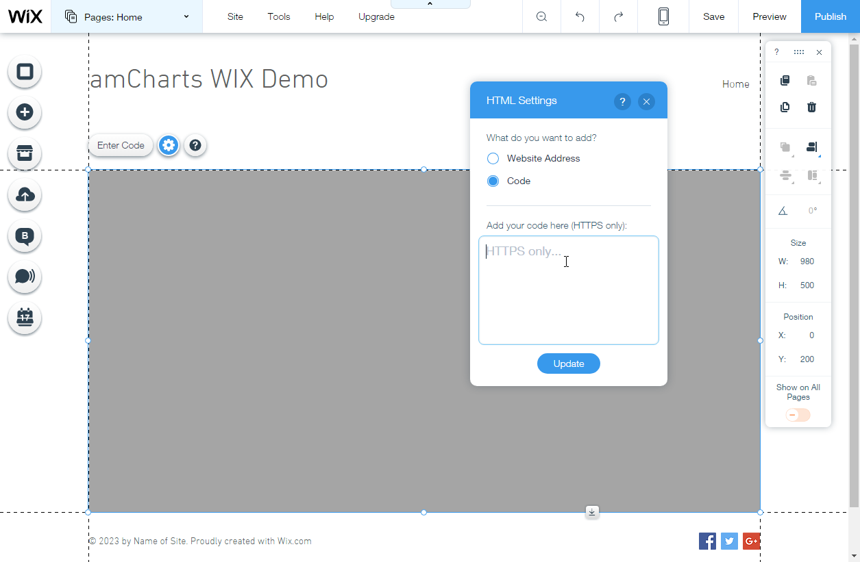 Adding charts and maps to a wix website amcharts editing html code in wix nvjuhfo Gallery